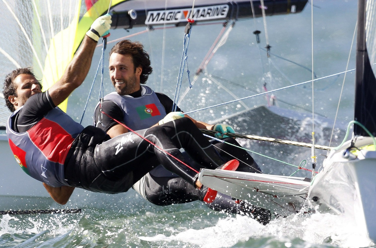 Photo of Portuguese duo in the 49er front group at the World Class Olympic Games