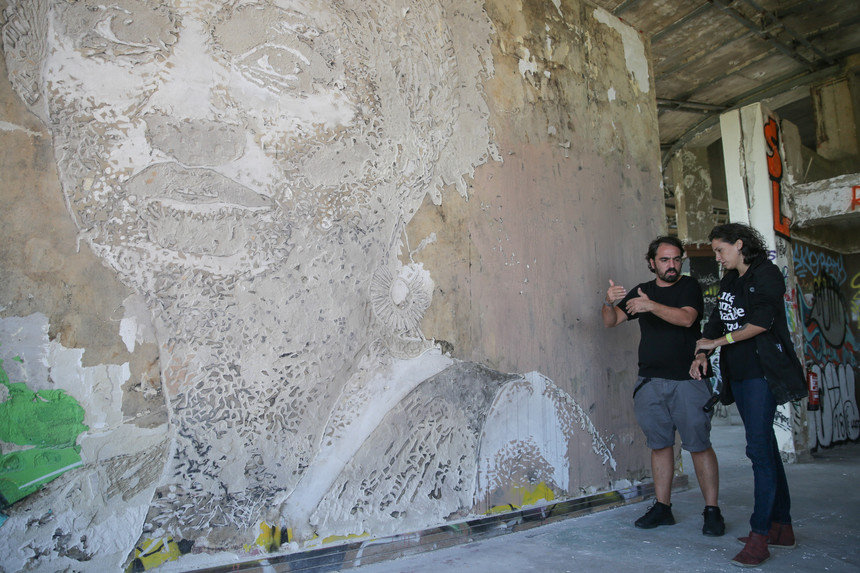 Photo of Vhils honored Brazilian activist Marielle Franco with mural in Lisbon