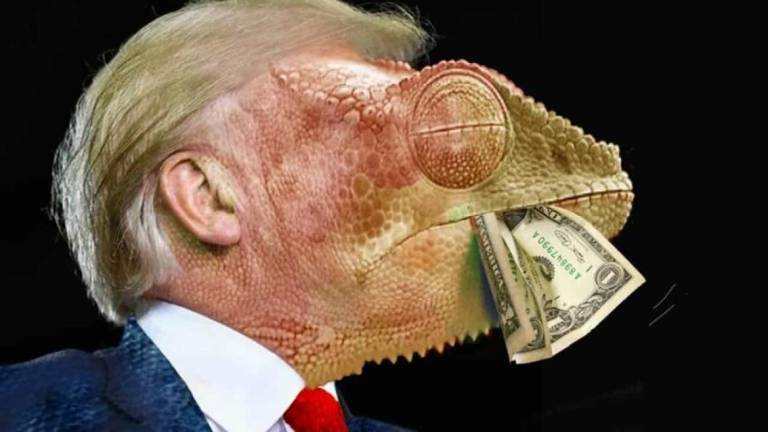 Photo of Trump with chameleon face and dollar bill wins PortoCartoon 2019