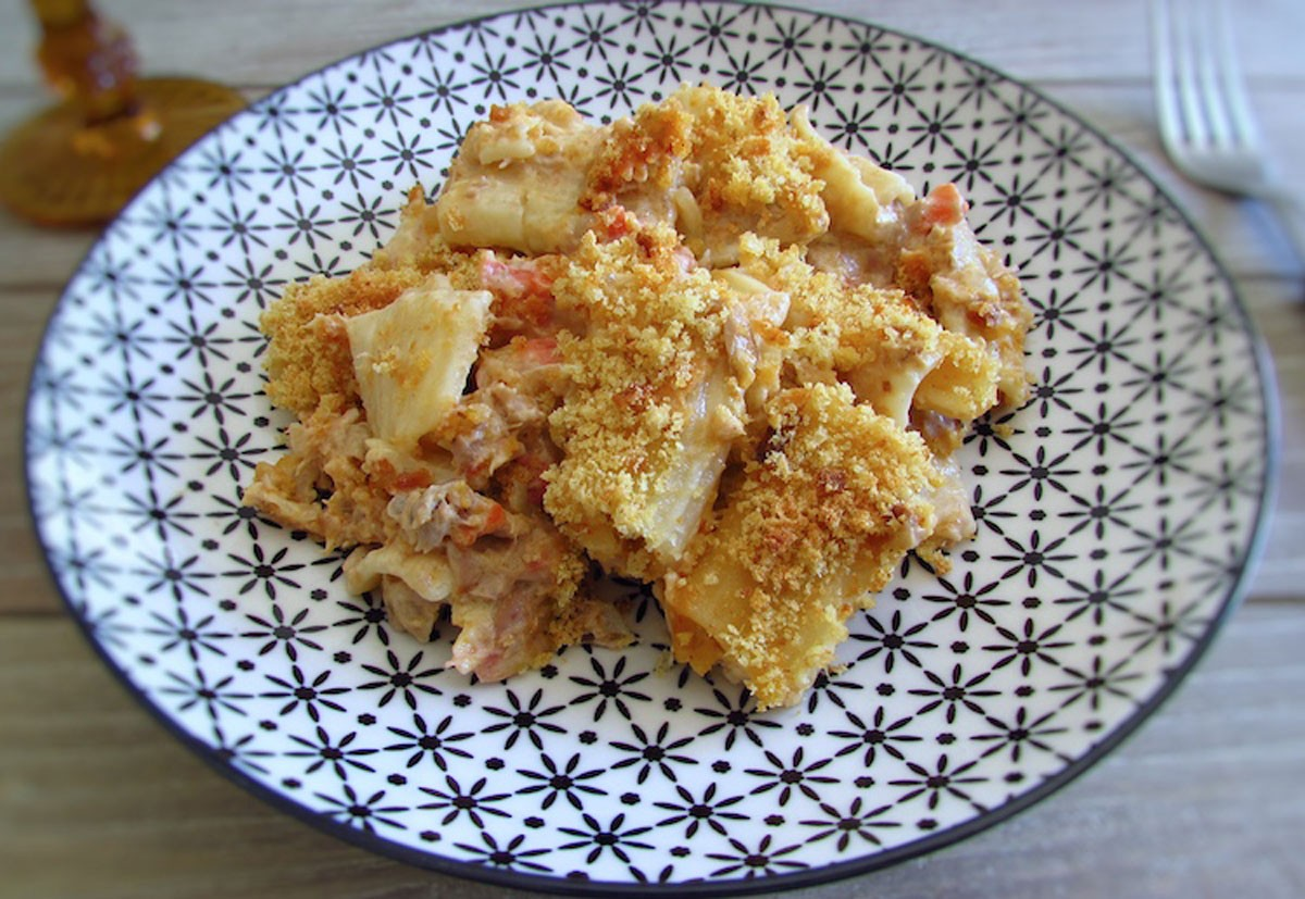 Photo of Tuna with pasta and portuguese cornbread in the oven