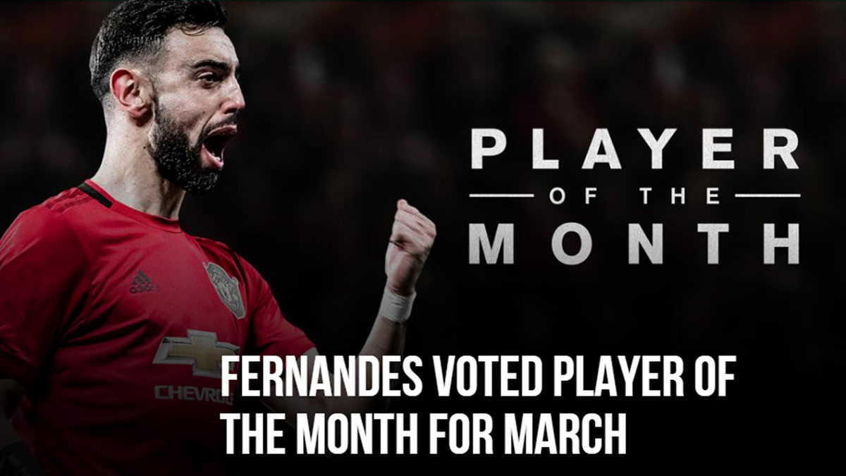 Photo of Bruno Fernandes again player of the month