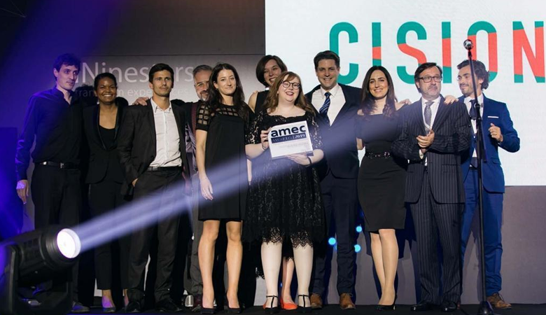 Photo of Cision with 11 finalist projects at the AMEC Awards