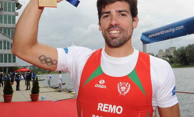 Photo of Paddlers Pedro Fraga and Inês Oliveira are national speed champions